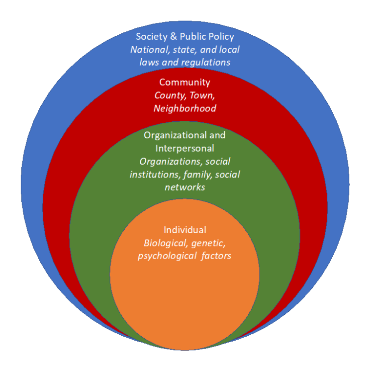 This model of substance use disorder shows four concentric circles illustrating how the following factors contributing to the disorder are all interrelated: society and public policy (laws and regulations); communities; organizations and personal networks; and our own individual biological, genetic, and psychological makeup.